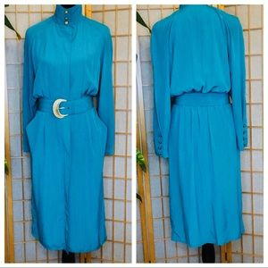 LESLIE FAY Collection👗High-Neck Belted Teal Dress